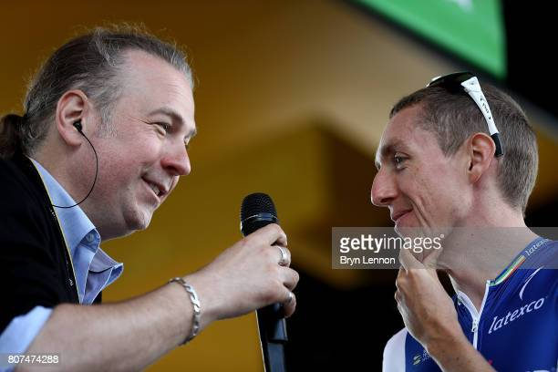 Daniel Martin of Ireland and team Quick Step Floors is interviewed ahead of stage four of Le Tour de France 2017 on July 4 2017 in Vittel France