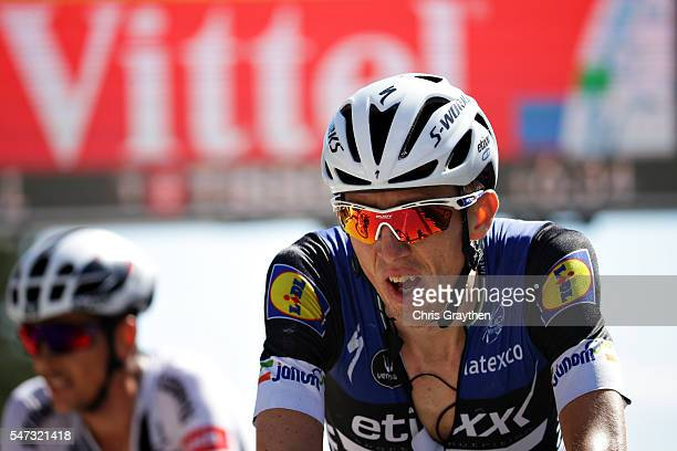 Daniel Martin of Ireland riding for EtixxQuickstep crosses the finish line of stage twelve of the 2016 Le Tour de France a 184 km stage from...