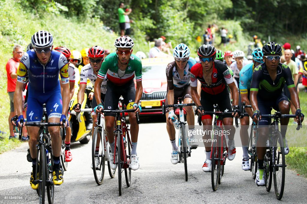 Daniel Martin of Ireland riding for Quick-Step Floors, Richie Porte of Australia riding for BMC Racing Team, Fabio Aru of Italy riding for Astana Pro Team, Nairo Quintana of Colombia riding for Movistar Team Alberto Contador Velasco of Spain riding for Trek - Segafredo and Romain Bardet of France riding for AG2R La Mondiale ride in the peloton during stage 9 of the 2017 Le Tour de France, a 181.5km stage from Nantua to Chambéry on July 9, 2017 in Chambery, France.