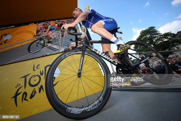 Daniel Martin of Ireland riding for QuickStep Floors rides to the start prior to stage three of the 2017 Le Tour de France a 2125km stage from...
