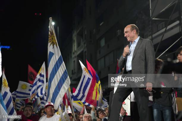 Daniel Martinez presidential candidate for the Broad Front party prepares to speak at the party's headquarters during an election night rally in the...