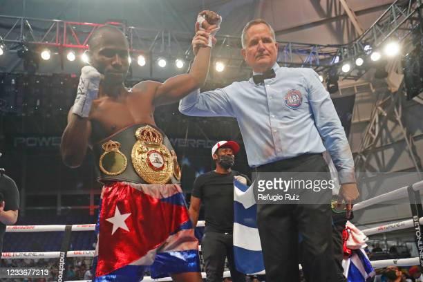 Daniel Matellon celebrates after winning the WBC Light Flyweight interim titlefight at CODE Dome on June 26, 2021 in Guadalajara, Mexico.