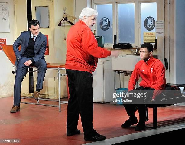 Daniel Mays as Kidd Peter Wight as Yates and Calvin Demba as Jordan perform on stage during a performance of 'The Red Lion' a new play by Patrick...