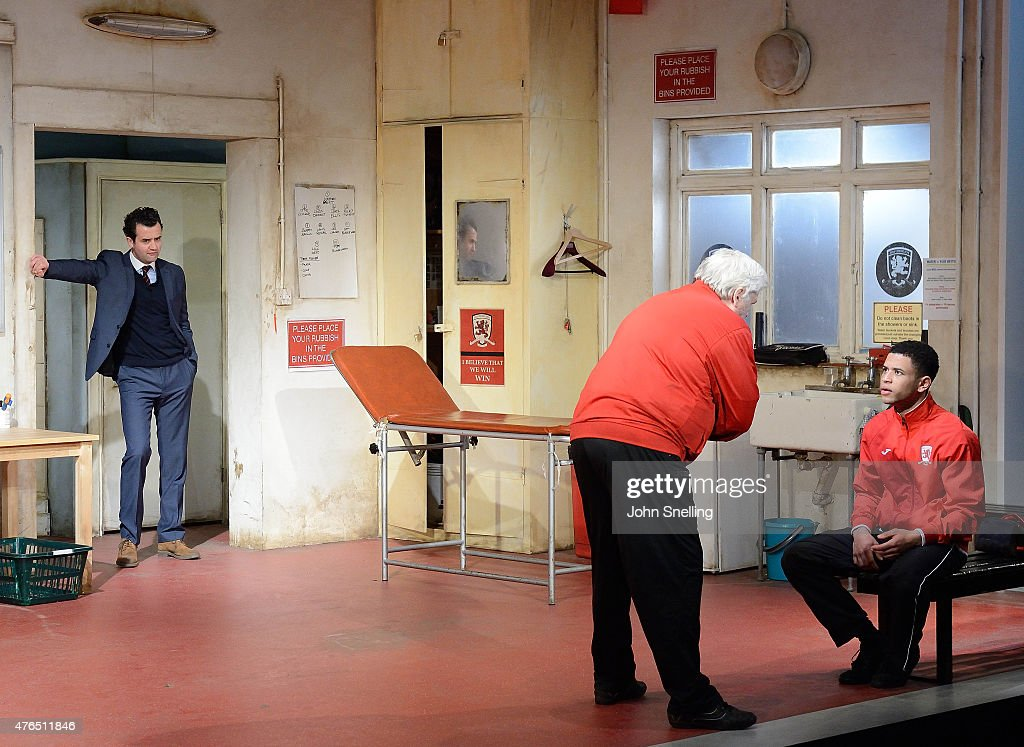 Daniel Mays, as Kidd, Peter Wight, as Yates and Calvin Demba as Jordan perform on stage during a performance of 'The Red Lion' a new play by Patrick Marber at The National Theatre on June 9, 2015 in London, England.