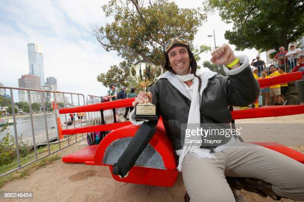 Daniel Mazzei and his entry 'Red Baron' win the Birdman Rally on March 11 2018 in Melbourne Australia The annual charity event sees entrants in home...