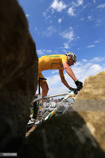 Daniel Mc Connell of Australia competes in the Men's Crosscountry Mountain Bike race on Day 16 of the London 2012 Olympic Games at Hadleigh Farm on...