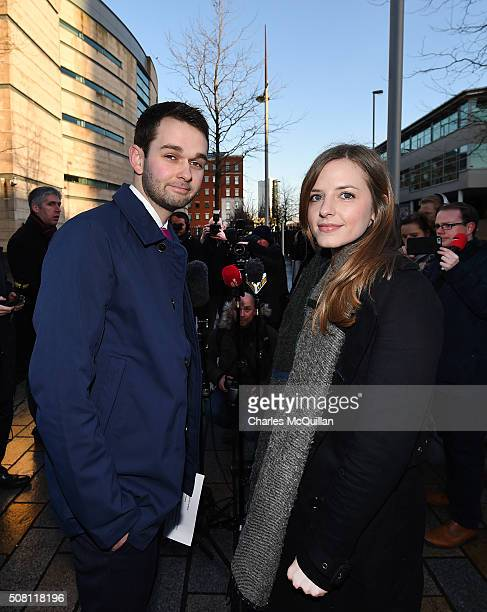 Daniel McArthur managing director of Ashers Bakery and his wife Amy McArthur hold a press conference outside Belfast high court on February 3 2016 in...