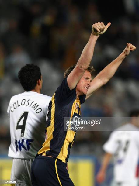 Daniel McBreen of the Mariners celebrates after scoring is teams first goal during the round six A-League match between the Central Coast Mariners...