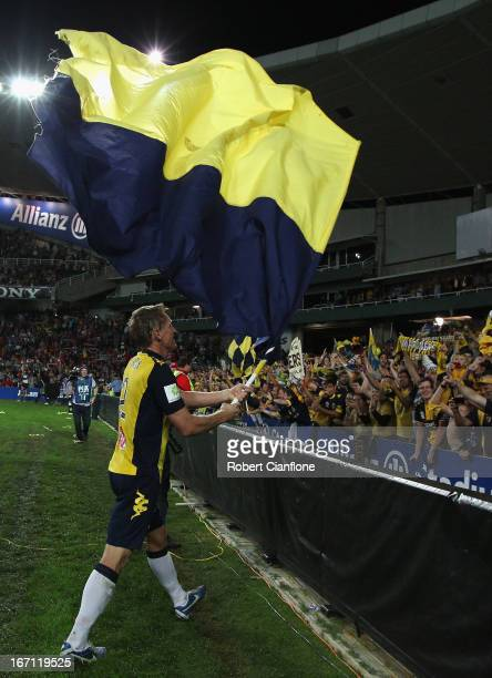 Daniel McBreen of the Mariners celebrates after the Mariners defeated the Wanderers after the ALeague 2013 Grand Final match between the Western...