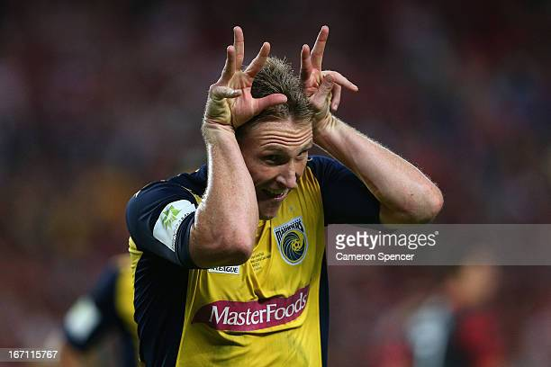 Daniel McBreen of the Mariners celebrates kicking a penalty goal during the ALeague 2013 Grand Final match between the Western Sydney Wanderers and...