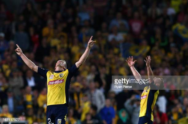 Daniel McBreen of the Mariners celebrates victory during the ALeague 2013 Grand Final match between the Western Sydney Wanderers and the Central...