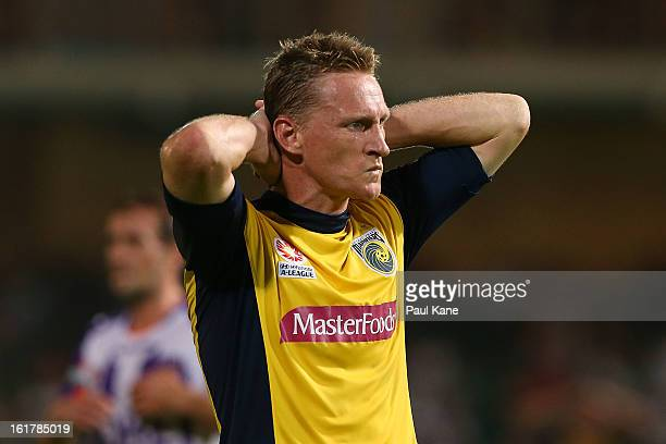 Daniel McBreen of the Mariners reacts to a missed shot on goal during the round 21 ALeague match between the Perth Glory and the Central Coast...