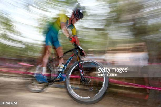 Daniel McConnell of Australia competes during the Men's Crosscountry on day eight of the Gold Coast 2018 Commonwealth Games at Nerang Mountain Bike...