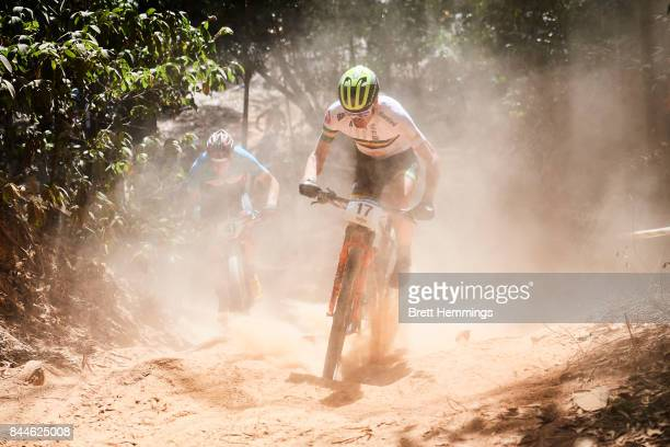 Daniel McConnell of Australia competes in the Elite Mens Cross Country race during the 2017 Mountain Bike World Championships on September 9 2017 in...