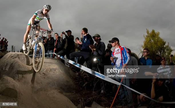 Daniel McConnell of Australia competes in the Men's CrossCountry race during day one of the MTB World Cup held at Mount Stromlo August 30 2008 in...