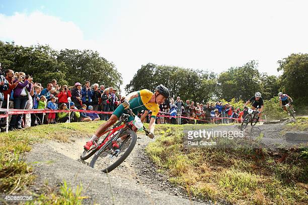 Daniel McConnell of Australia in action in the Men's Cross Country Mountain Biking at Cathkin Braes Mountain Bike Trails during day six of the...