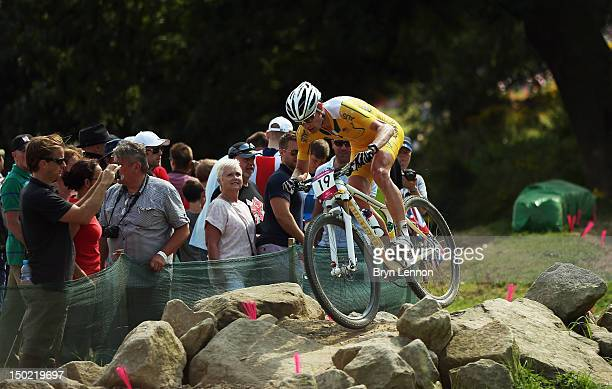 Daniel McConnell of Australia in action in the Men's Mountain Bike race on Day 16 of the 2012 Olympic Games at Hadleigh Farm on August 12 2012 in...