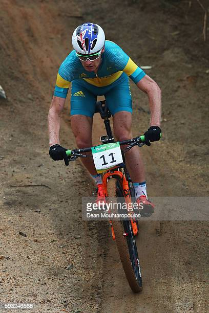 Daniel McConnell of Australia rides during the Men's CrossCountry on Day 16 of the Rio 2016 Olympic Games at Mountain Bike Centre on August 21 2016...