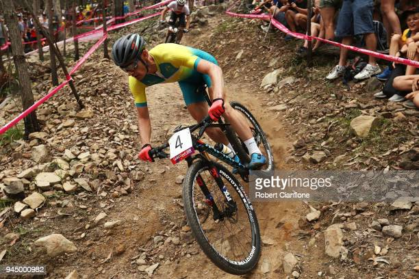 Daniel McConnelll of Australia competes during the Men's Crosscountry on day eight of the Gold Coast 2018 Commonwealth Games at Nerang Mountain Bike...