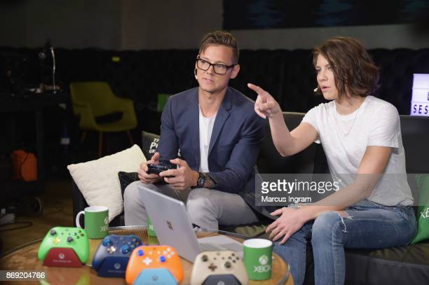 Daniel McGuffey and Lauren Cohan join Xbox Live Sessions to play MIDDLE EARTH SHADOW OF WAR on Xbox One X on November 1 2017 in Atlanta Georgia