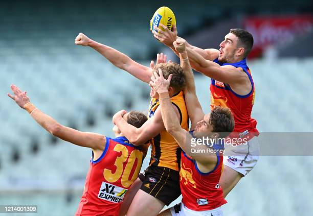 Daniel McStay of the Lions marks during the round 1 AFL match between the Hawthorn Hawks and the Brisbane Lions at Melbourne Cricket Ground on March...