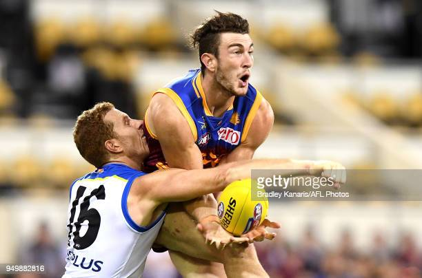 Daniel McStay of the Lions takes a mark during the round five AFL match between the Brisbane Lions and the Gold Coast Suns at The Gabba on April 22...