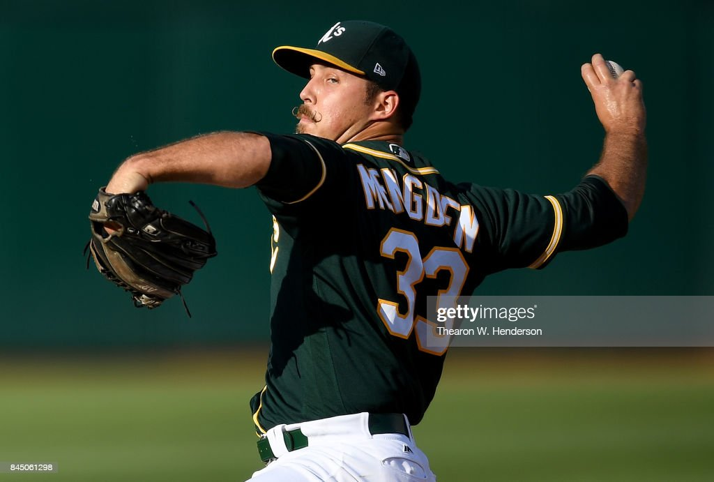 Daniel Mengden #33 of the Oakland Athletics pitches against the Houston Astros in the top of the first inning of the second game of a doubleheader at Oakland Alameda Coliseum on September 9, 2017 in Oakland, California.