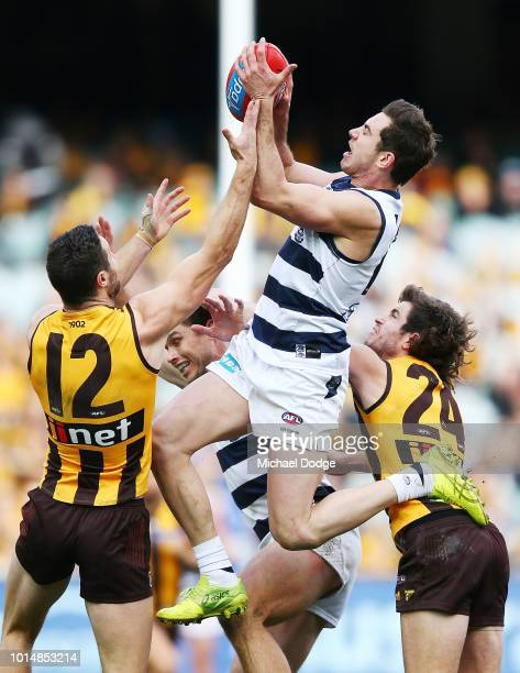 Daniel Menzel of the Cats marks the ball against James Frawley of the Hawks during the round 21 AFL match between the Hawthorn Hawks and the Geelong...