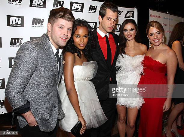 Daniel Merriweather Kerry Washington Mark Ronson Georgina Chapman and Michelle Edgar of Music Unites attend the 2009 Music Unites Fall Masquerade...
