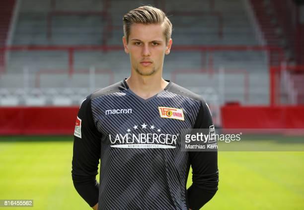 Daniel Mesenhoeler of 1 FC Union Berlin poses during the team presentation at Stadion an der Alten Foersterei on July 17 2017 in Berlin Germany