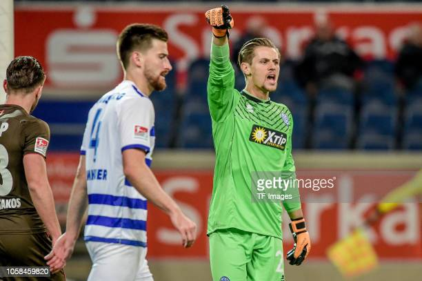 Daniel Mesenhoeler of MSV Duisburg gestures during the Second Bundesliga match between MSV Duisburg and FC St Pauli at SchauinslandReisenArena on...