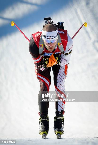 Daniel Mesotitsch of Austria competes during the IBU Biathlon World Cup Men's Sprint on December 14 2013 in AnnecyLe Grand Bornand France
