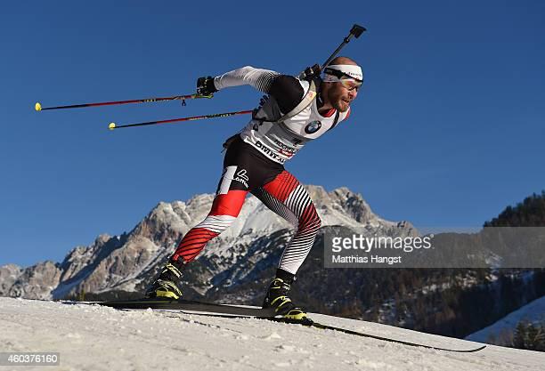 Daniel Mesotitsch of Austria competes in the men's 10 km sprint event during the IBU Biathlon World Cup on December 12 2014 in Hochfilzen Austria