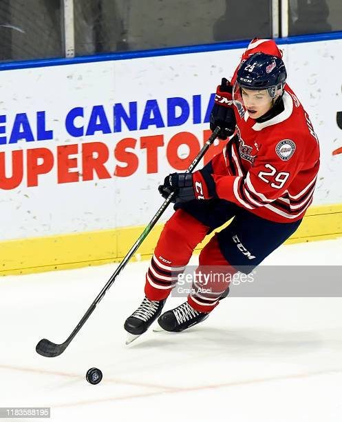 Daniel Michaud of the Oshawa Generals skates against the Mississauga Steelheads during game action on October 25, 2019 at Paramount Fine Foods Centre...