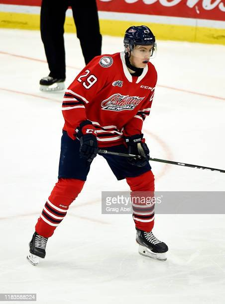 Daniel Michaud of the Oshawa Generals skates against the Mississauga Steelheads during game action on October 25 2019 at Paramount Fine Foods Centre...