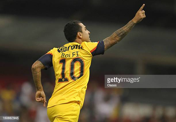 Daniel Montenegro celebrate a goal during a match between America v Correcaminos as part of the Copa Mx at Azteca Stadium on August 22 2012 in Mexico...