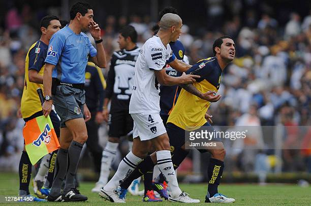 Daniel Montenegro of America reacts during a match as part of the Apertura 2011 at Olimpico Stadium on October 01 2011 in Mexico City Mexico