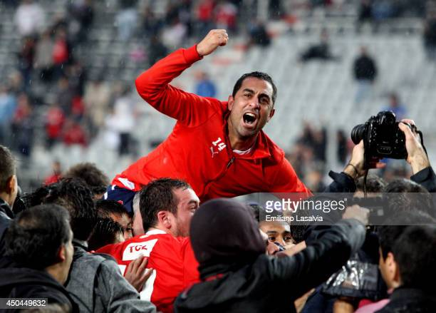 Daniel Montenegro of Independiente celebrates being promoted to first division after one year of playing in Primera B Nacional after winning a...
