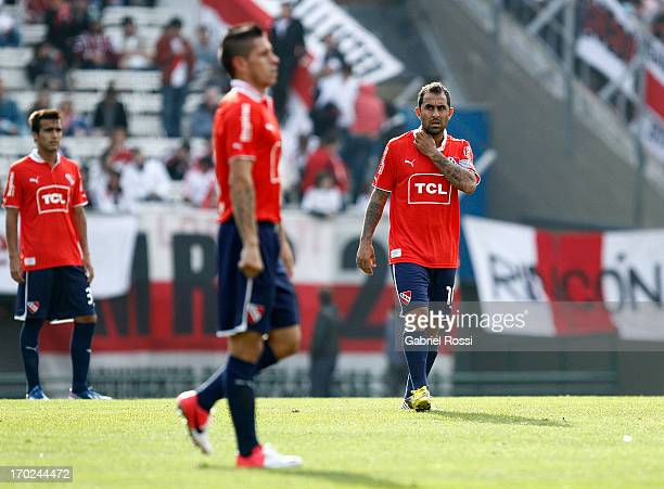 Daniel Montenegro of Independiente laments after a match between River Plate and Independiente as part of the Torneo Final 2013 at the Monumental...