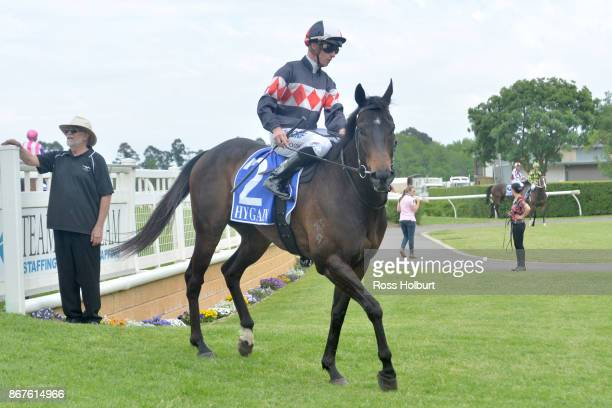 Daniel Moor returns to the mounting yard on Elusive Shine after winning the bet365 Protest Promise 0 58 Handicap at Yarra Valley Racecourse on...