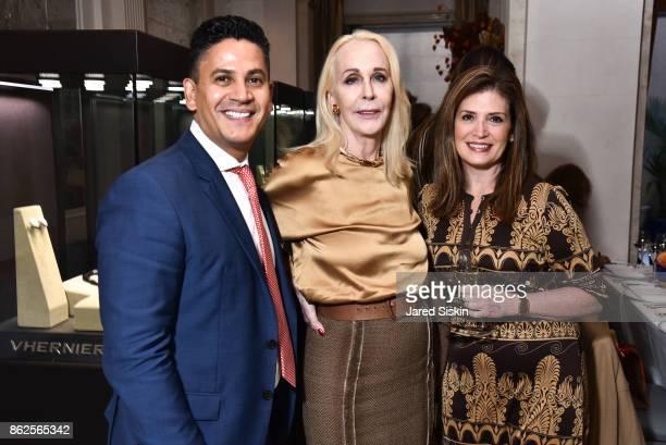 Daniel Morales Barbara Bancroft and Rene Gandelman attend QUEST VHERNIER Host Luncheon at MAJORELLE at Majorelle on October 17 2017 in New York City