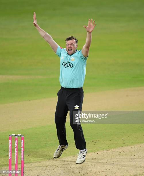 Daniel Moriarty of Surrey appeals during the Vitality Blast 20 Final between Surrey and Notts Outlaws at Edgbaston on October 04 2020 in Birmingham...