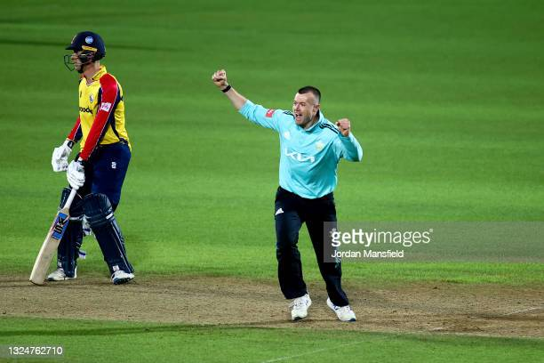 Daniel Moriarty of Surrey celebrates dismissing Adam Wheater of Essex Eagles during the Vitality T20 Blast match between Surrey and Essex Eagles at...
