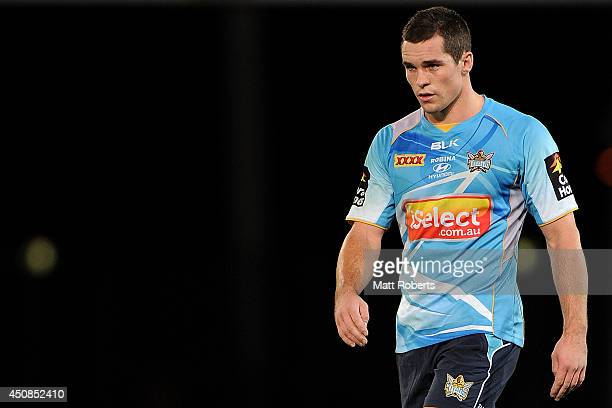 Daniel Mortimer looks on during a Gold Coast Titans NRL training session at Cbus Stadium on June 19, 2014 on the Gold Coast, Australia.