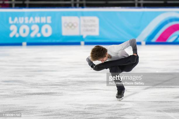 Daniel Mrazek of Czech Republic in action during Men Single Skating Free Skating of the Lausanne 2020 Winter Youth Olympics at Skating Arena on...