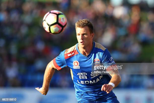Daniel Mullen of the Jets in action during the round 25 ALeague match between the Newcastle Jets and the Western Sydney Wanderers at McDonald Jones...