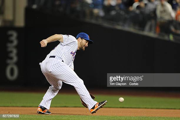 Daniel Murphy New York Mets fielding at second base during the New York Mets Vs Los Angeles Dodgers game four of the NL Division Series at Citi Field...