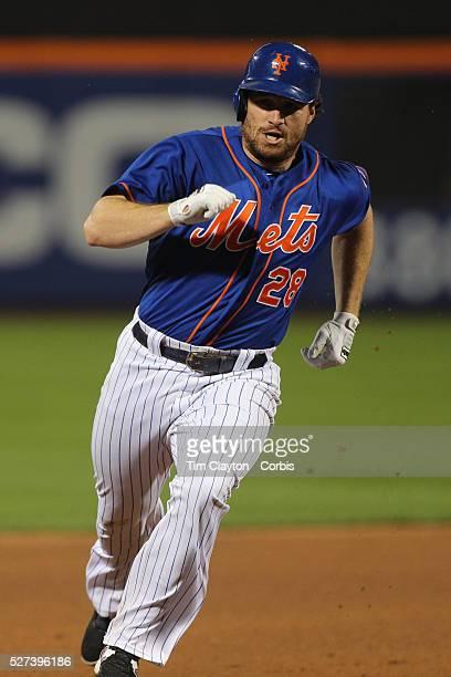 Daniel Murphy New York Mets runs to third base on a triple during the New York Mets Vs New York Yankees MLB regular season baseball game at Citi...