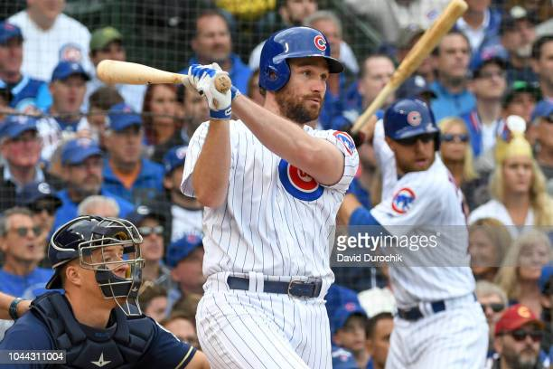 Daniel Murphy of the Chicago Cubs bats during the game against the Milwaukee Brewers on Monday, October 1, 2018 at Wrigley Field in Chicago, Illinois.