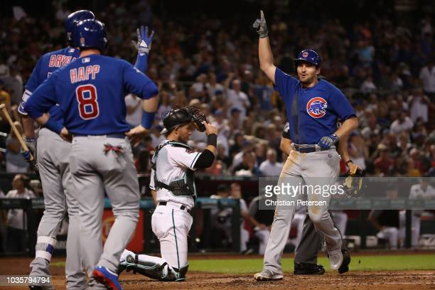 Daniel Murphy of the Chicago Cubs celebrates after hitting a two-run home run against the Arizona Diamondbacks during the second inning of the MLB...